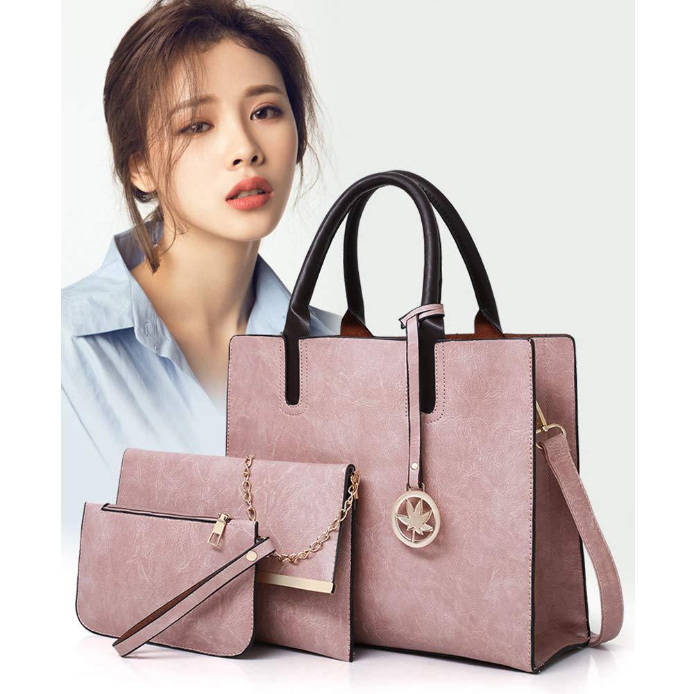 GKPLY Ladies Business Bag-3 Piece Wallet Set Faux Leather Tote Bag Ms Large Tote Bag Shoulder Bag Messenger Bag Clutch Bag