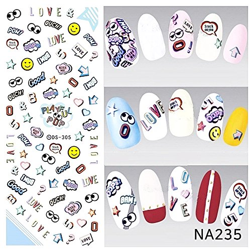 EmcoDea 3D Gel nail stickers attached in 3 seconds Classic Collection Manicure Nail Polish Strips Nail Wraps Nail ()