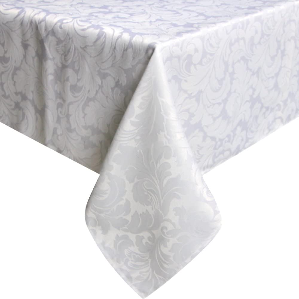 ColorBird Scroll Damask Jacquard Tablecloth Spillproof Waterproof Fabric Table Cover for Kitchen Dinning Tabletop Linen Decor (Rectangle/Oblong, 60 x 120 Inch, White)