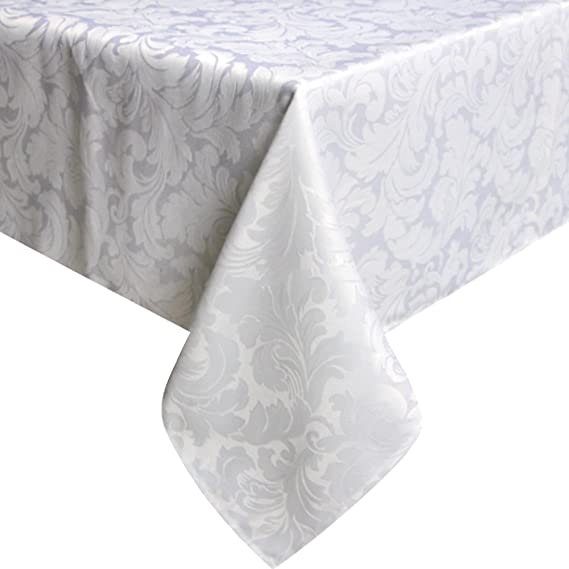 ColorBird Scroll Damask Jacquard Tablecloth Spillproof Waterproof Fabric Table Cover for Kitchen Dinning Tabletop Linen Decor (Rectangle/Oblong, 60 x 102 Inch, White)