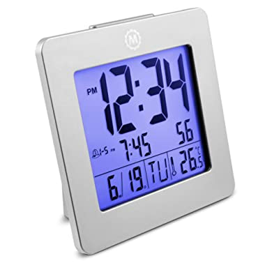 Marathon CL030050GG Desktop Alarm Clock with Date and Temperature. Easy to Use. Features Backlight, 2 Alarms and Repeating Snooze. 7 Language Choices. Batteries Included. Color – Graphite Grey.