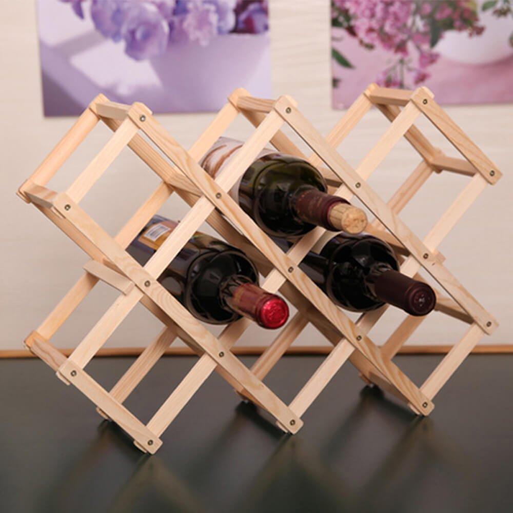 Enshey Étagère de vin rouge,Haute Qualité Creative Support à 10 Bouteilles Étagère en Bois de Vin Rouge - Brun