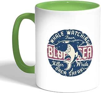 The shark Printed Coffee Mug, Green Color