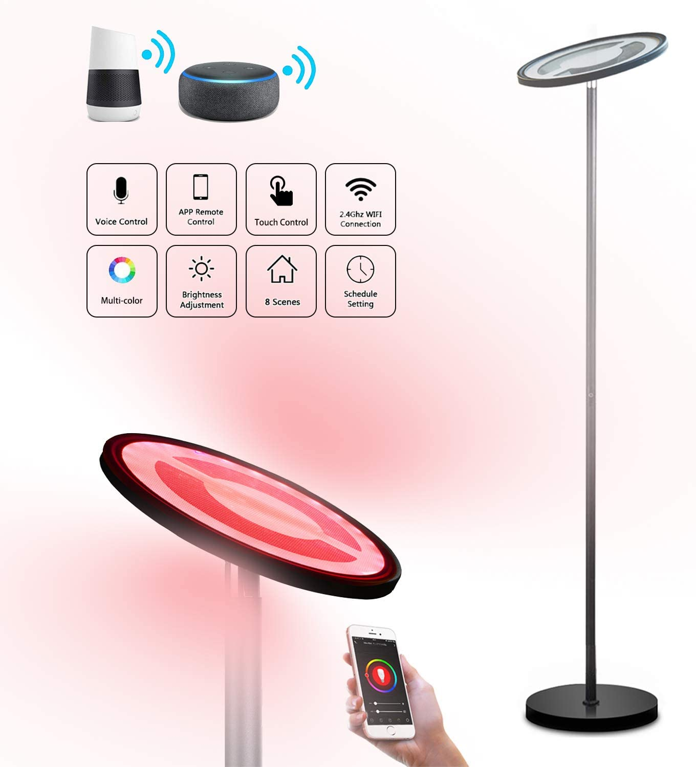 Smart Floor Lamp,BRTLX RGBW Dimmable LED Reading Standing Lamp with Touch/Voice Control, Mutli-color Changing, Compatible with Smart Phone APP Amazon Alexa Google, Ideal for Living Room Bedroom Office