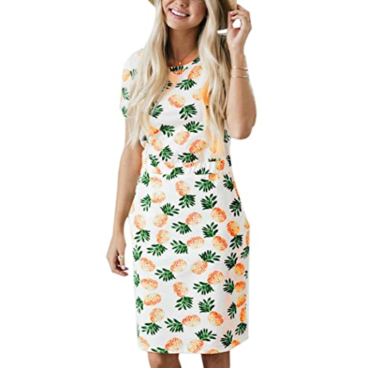 4df41a64cf Women s Summer Dress Pineapple Print Short Sleeve Midi Dress Casual  Sundress With Pocket (S