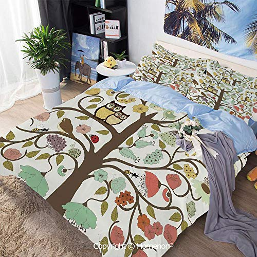 Three-Piece Bed,Retro Style Tree with Flowers Bugs and Bees Owl Birds Insects Vintage Decorative,Twin Size,Include 1 Quilt Cover+2 Pillow case,Almond Green Eggshell ()