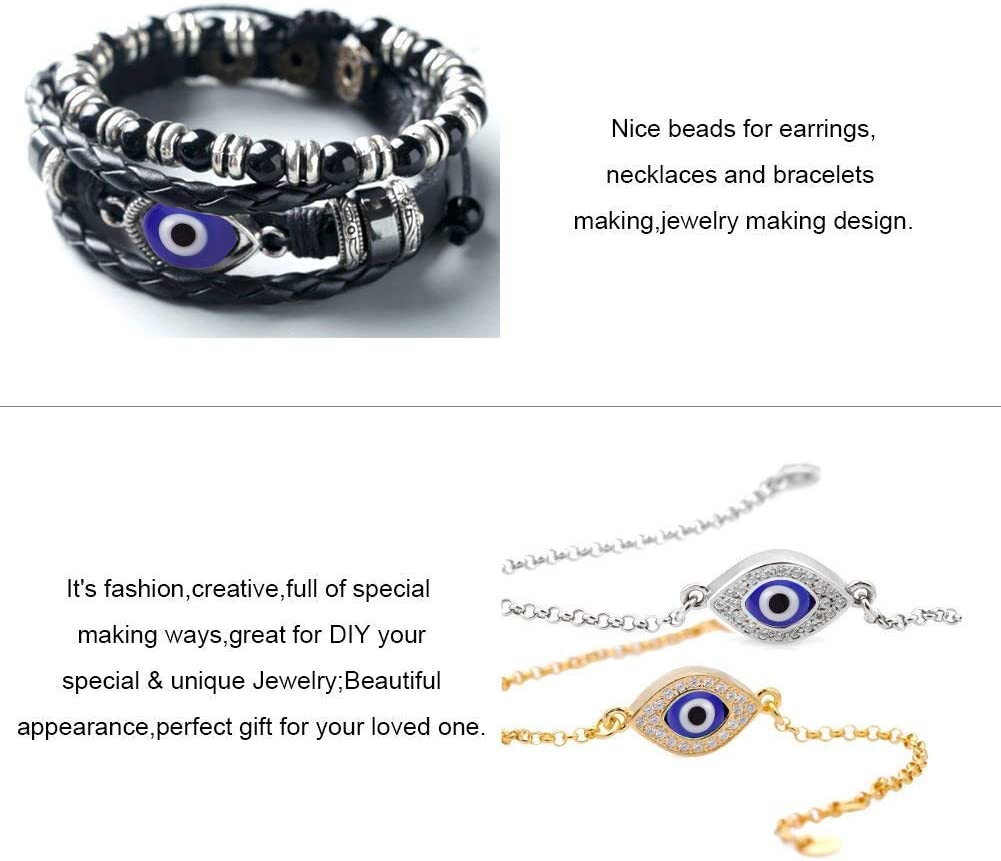 About 390pcs 4 Sizes Handmade Round Evil Eye Lampwork Beads Charms Spacer Beads fit Bracelets Necklace Jewelry Making NBEADS 1 Box