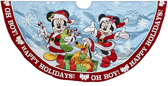 Mickey and Minnie Mouse and Friends Disney Christmas Skirt with Snowball Trim