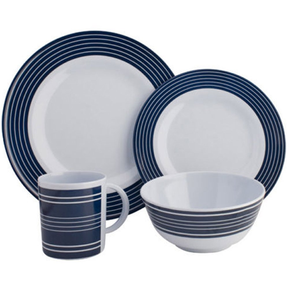 Navy Pinstripe Melamine 16 pce Dinner Set Amazon.co.uk Sports u0026 Outdoors  sc 1 st  Amazon UK & Navy Pinstripe Melamine 16 pce Dinner Set: Amazon.co.uk: Sports ...