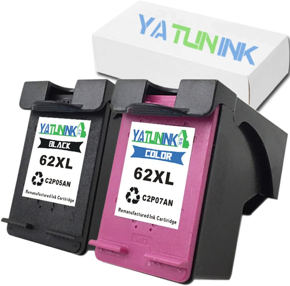 YATUNINK Compatible for HP 62XL Black & 62XL Color Ink Cartridges Envy 5640 5642 5643 5646 5660 7640 7645 (2 Pack)