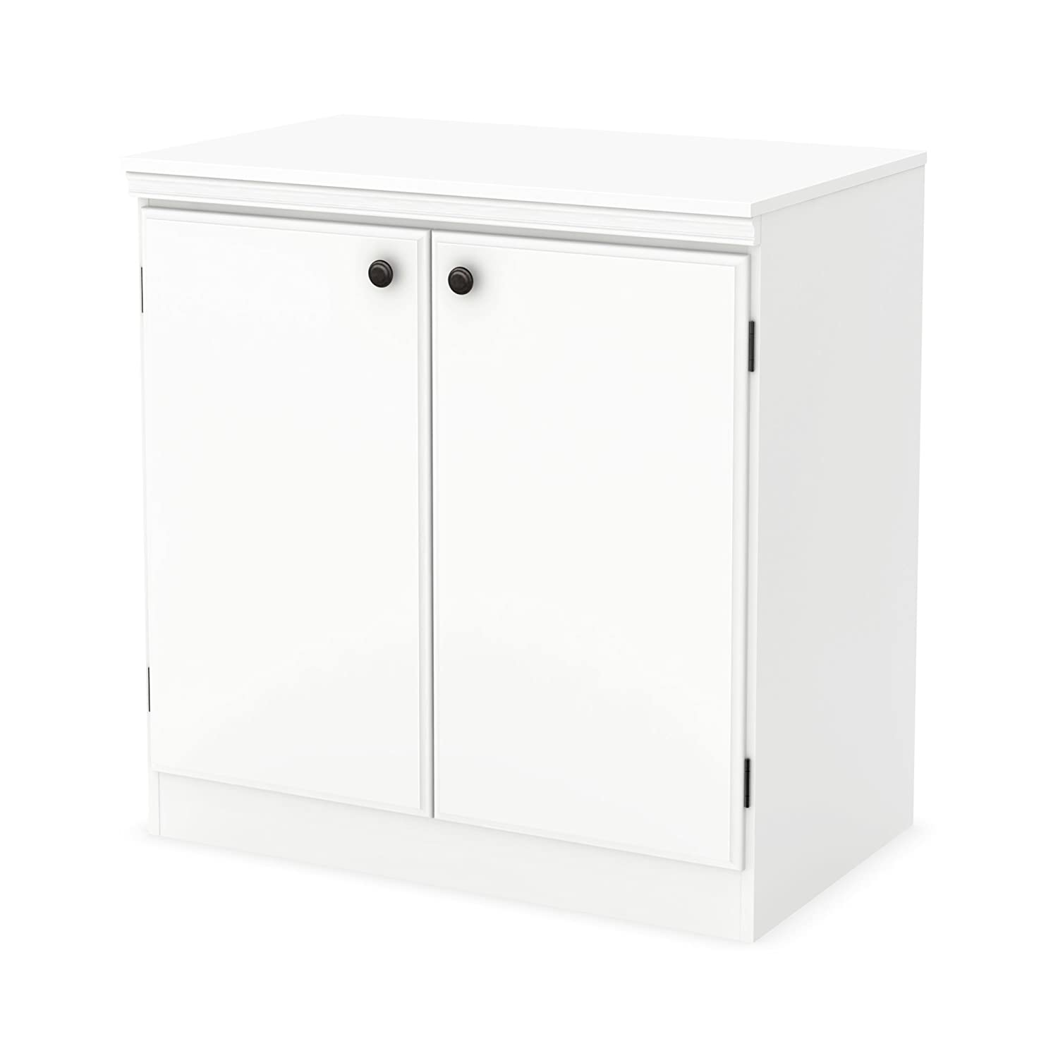 Amazon.com: South Shore Morgan 2-Door Storage Cabinet, Pure White ...