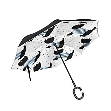 ISAOA Paraguas Grande invertido Resistente al Viento Doble Capa Construcción Reversible Plegable Paraguas para Coche Lluvia