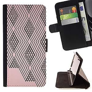For Sony Xperia Z2 D6502 Case , Modelo abstracto Líneas Plaid melocotón rosado Negro- la tarjeta de Crédito Slots PU Funda de cuero Monedero caso cubierta de piel