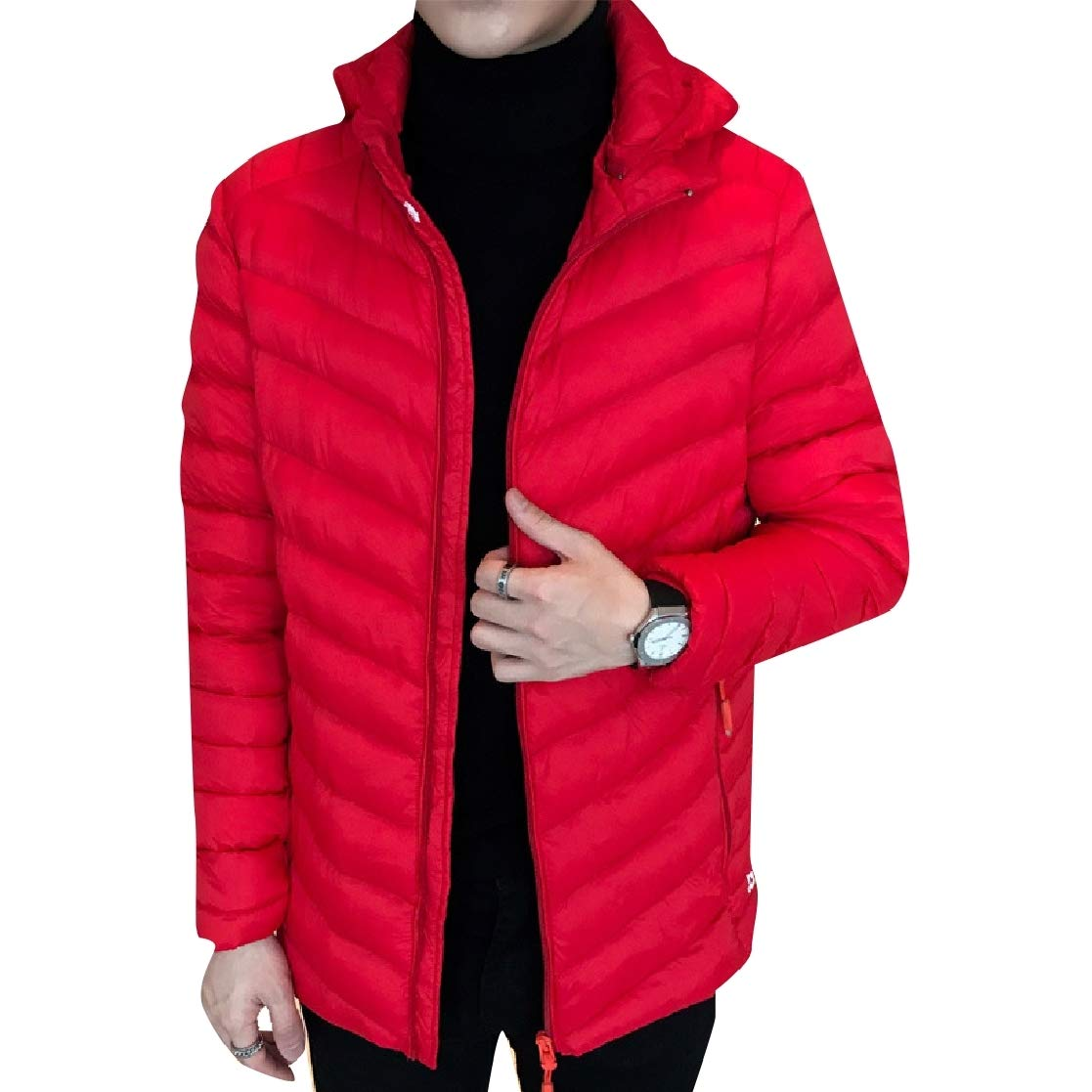 YUNY Men Plus Size Hood Windproof Removable Cups Leisure Down Coat Red M