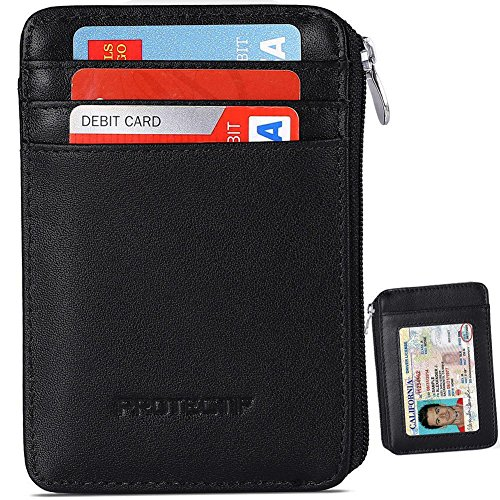 Rfid Blocking Sleeves Front Pocket Wallet for Men, Secure Credit Card Wallet Mini Card Holder with Zipper and Id Window, Genuine Leather Durable Slim Wallets (Zipper Slim)