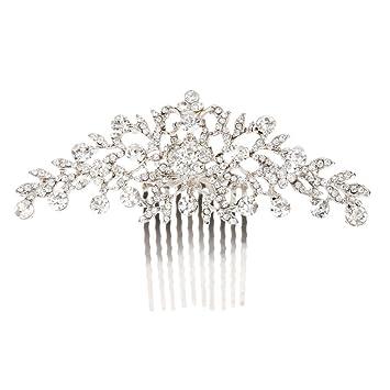 Tinksky Mariage Fleur Diamante Strass Femmes Cheveux Peigne Bandeau