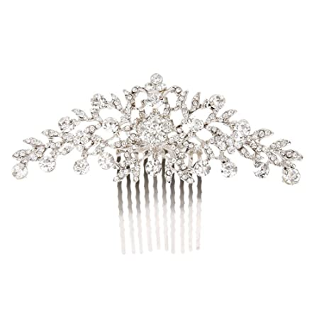 Pixnor Hochzeit Haar Kamm Crystal Strass Blume Diamante Braut Haar Kamm Clip Kamm Silber