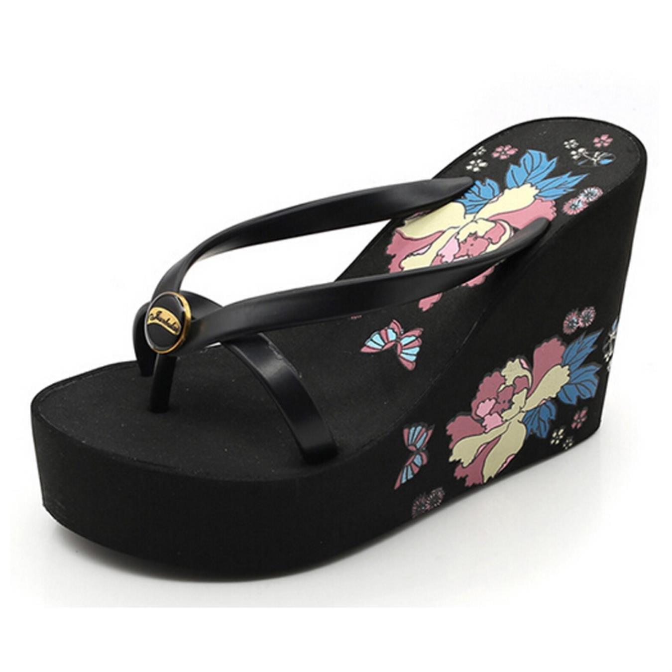 Summer Women Sandals Casual Style Floral Flip Flops High Platform Wedges Hot Shoes Woman Size 35-39