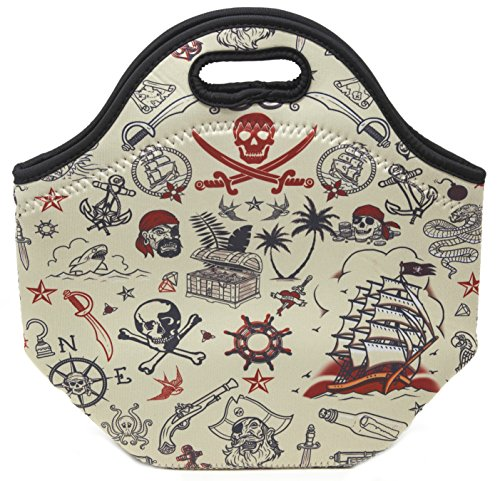 Funny Guy Mugs Pirate Insulated Neoprene Lunch Bag - Gourmet Lunch Tote -