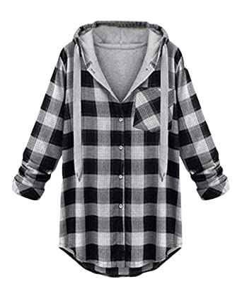 0192d0fc418 WNSY Women Plaid Shirt Button Down Tops Plus Size Hooded Coat at Amazon  Women's Clothing store: