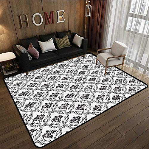 Durable Rubber Floor Mat,Damask Decor,Traditional Complex Chained Double Face Damask Lines Internal Patterning Illustration,Brown White 59