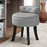 Taylor Grey Linen Vanity Stool - Nailhead Trim | Roll Back | Button Tufted | Bedroom