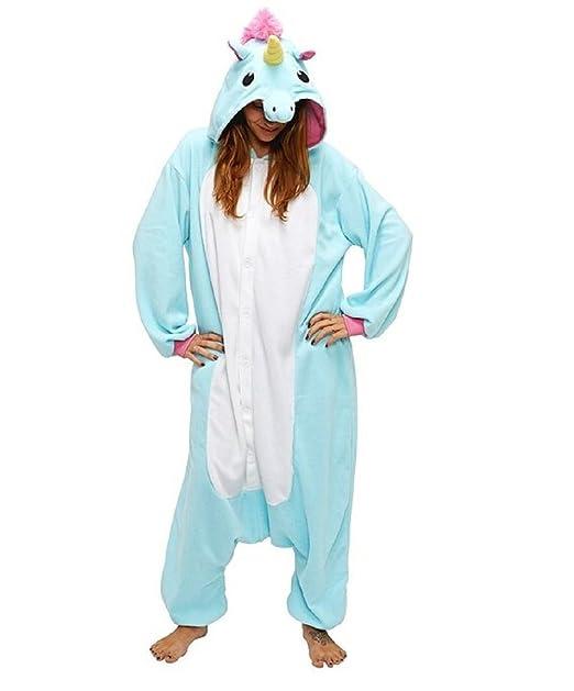 Mcdslrgo Pijama enterizo unisex de cálido forro polar, diseño de unicornio