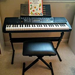 Amazon Com Rockjam 61 Key Keyboard Piano With Pitch Bend Kit Keyboard Stand Piano Bench Headphones Simply Piano App Keynote Stickers Musical Instruments