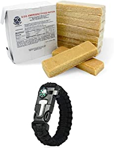 SOS Food Labs Inc.3600 Calorie Food Bar Rations Emergency 3 Day / 72 Hour Food Supply 5 Year Shelf Life - 1 Pack with Survival Essential Item (5-in-1 Paracord Bracelet)
