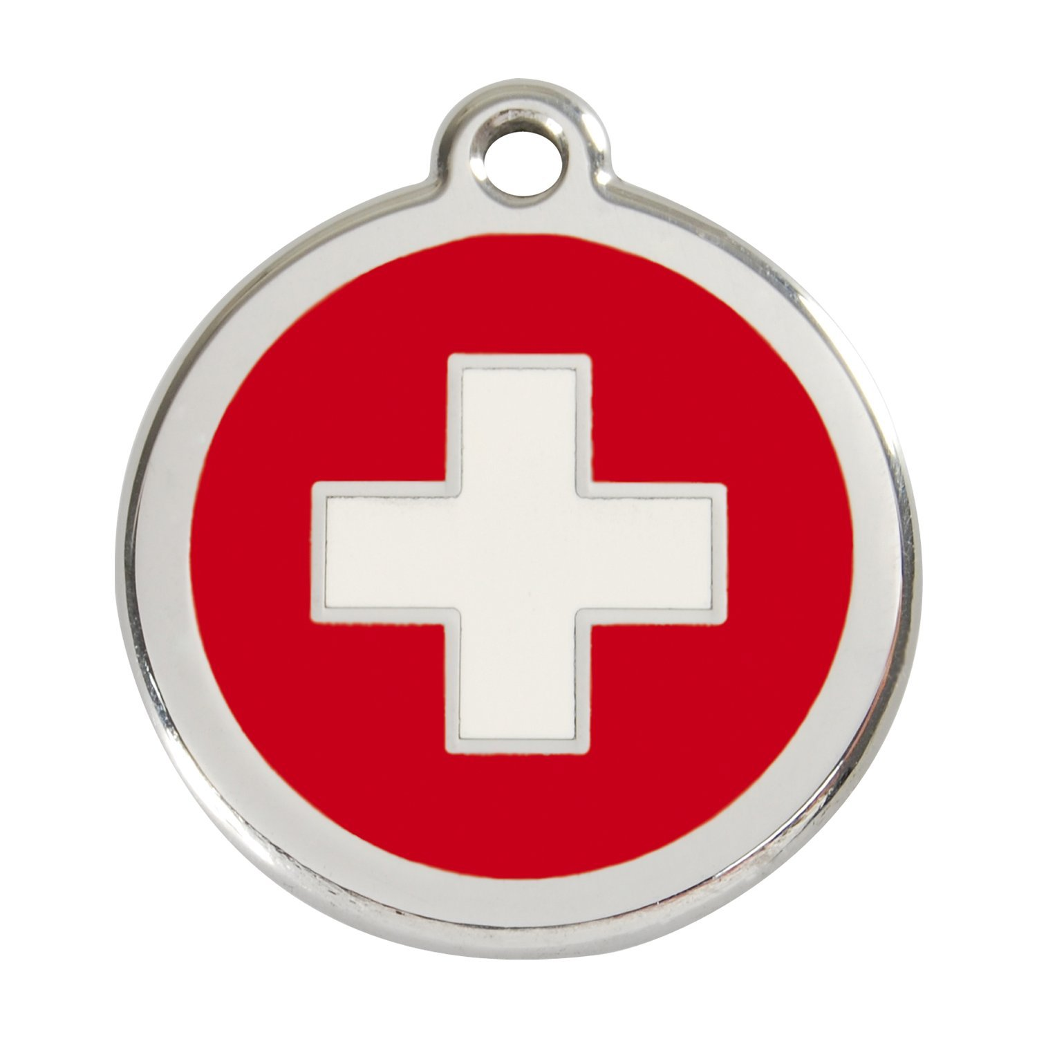 Red Dingo ~ Stainless Steel with Enamel Dog, Cat, Pet I.D. Tag - Swiss Cross (USPS Shipping W/ Tracking) (Large - 1.5'' (38mm))