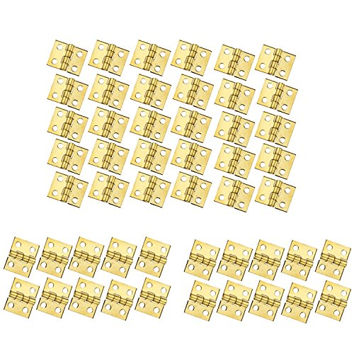 RZDEAL 50 PCS Mini Brass Hinge Hardware 180 Degree Rotation for Dollhouse Miniature Furniture Cabinet Closet(DIY)