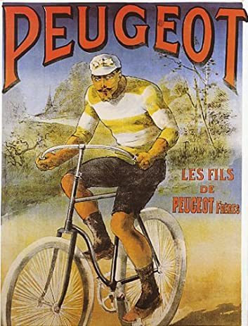 Amazon com: CYCLES PEUGEOT FRENCH BICYCLE MAN RIDING BIKE