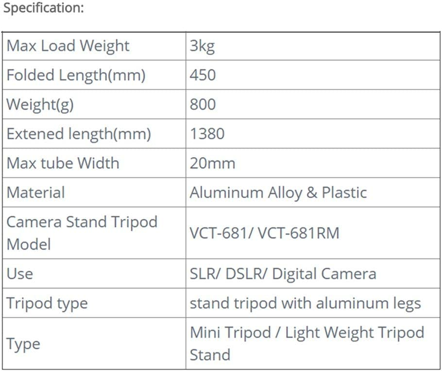 for Canon 550D 600D 500D Crystalzhong Camera Tripod Outdoor Portable Aluminum Camera Tripod Stand with Portable Bag Color : Black, Size : One Size