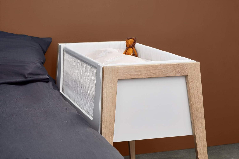Beine aus Beistellbett mit Matratze und Nestchen Linea Side-by-Side Bett Eiche