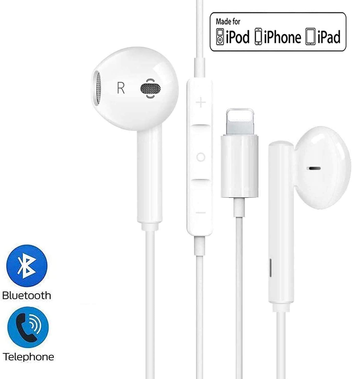 Lighting Headphones/Earphones/Earbuds, Built-in Microphone and Volume Control,Suitable for Apple iPhone 11 Pro Max/X/XS/XS MAX/XR/8/8P/7/7P/iPad Pro/iPad Air/iPad Mini/iPod