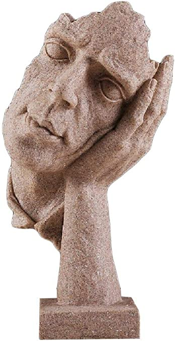 Keep Silene Creative Abstract The Thinker Statue,Hand /& Face Sculptures Modern Home Decorations Thinking Man Figurine