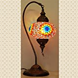 Mosaic Swanneck Swan Table Desk Lampshade, Handmade Authentic Tiffany Lighting Moroccan Lamp Glass Stunning Bedside Night Lights Brass&Glass Ottoman Turkish Style