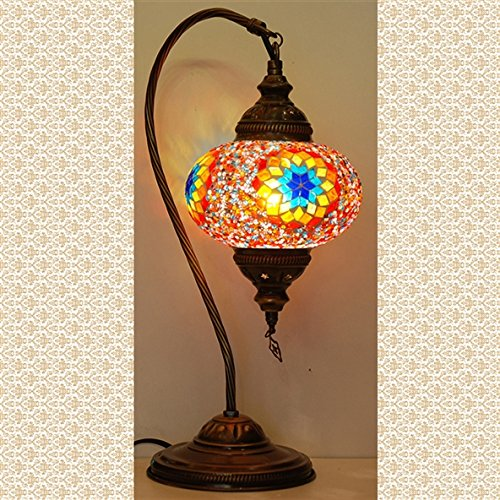 Mosaic Swanneck Swan Table Desk Lampshade, Handmade Authentic Tiffany Lighting Moroccan Lamp Glass Stunning Bedside Night Lights Brass&Glass Ottoman Turkish Style (Large Lamp Tiffany Pendant)