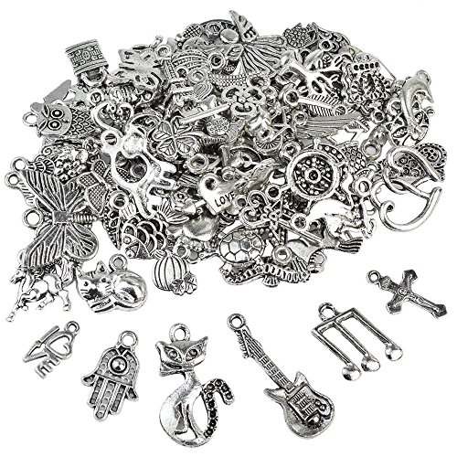 Nydotd 100pcs Jewelry Making Silver Charms, Wholesale Bulk Lots Mixed Smooth Tibetan Antique Silver Metal Charms Pendants DIY for Crafting Handwork Bracelet Necklace Jewelry Making Accessory