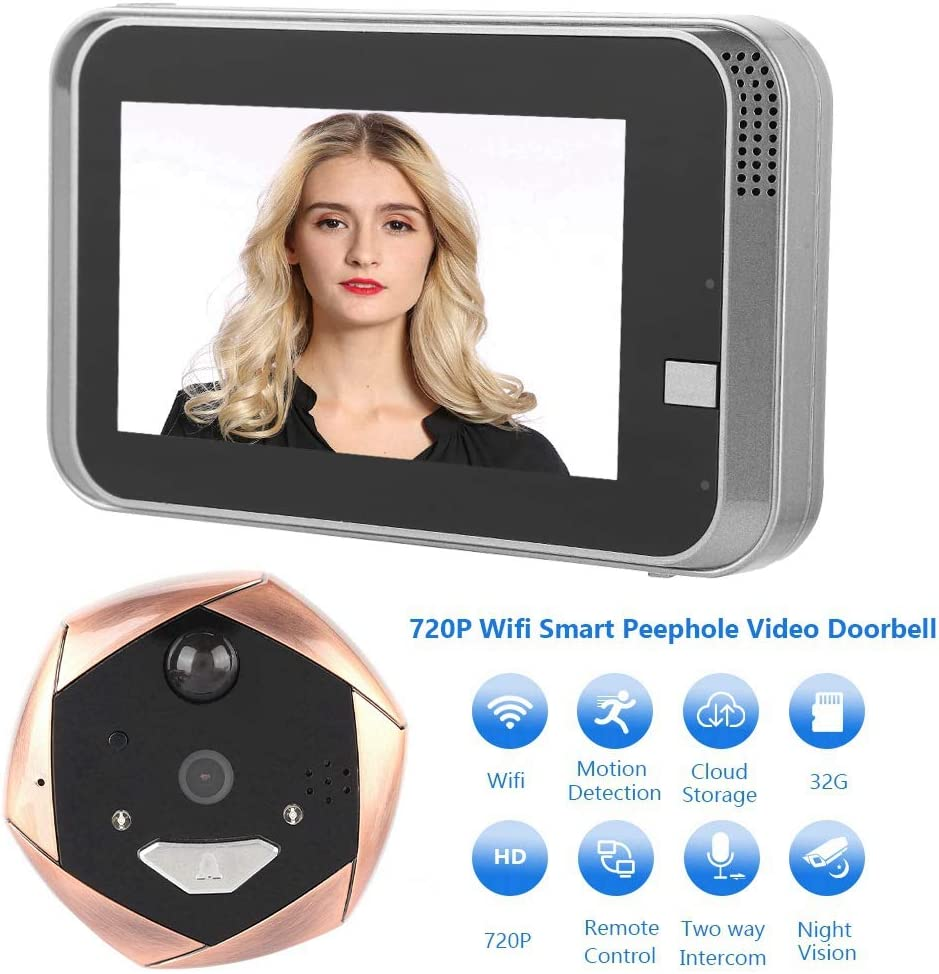 4.3in 720P HD LCD Mirilla Digital C/ámara Visor de c/ámara WiFi inal/ámbrico Video Timbre Intercomunicador con visi/ón Nocturna IR//Detecci/ón de Movimiento PIR Video Timbre