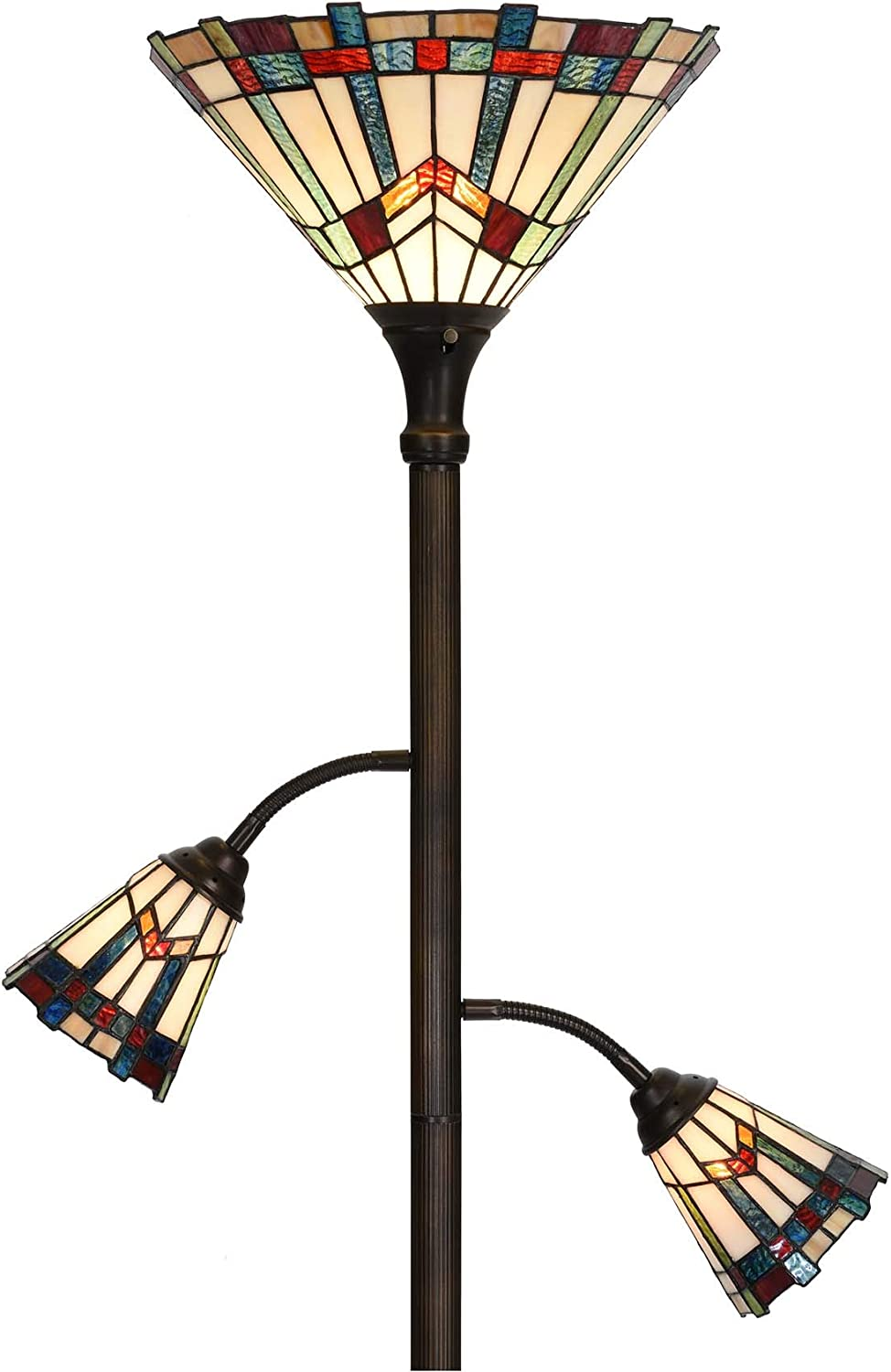 Bieye L10812 Mission Tiffany Style Stained Glass Floor Lamp for Reading Working Decorating, 3-Lights, 70 inches Tall