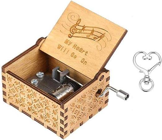 Cuzit, My Heart Will Go On, caja de música musical con el motivo de la película Titanic, estilo antiguo con manivela, madera tallada a mano: Amazon.es: Hogar