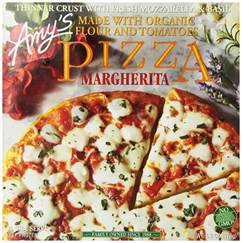 - Amy's Frozen Margherita Pizza, Hand-Stretched Crust, Single Serve, 6.2-Ounce