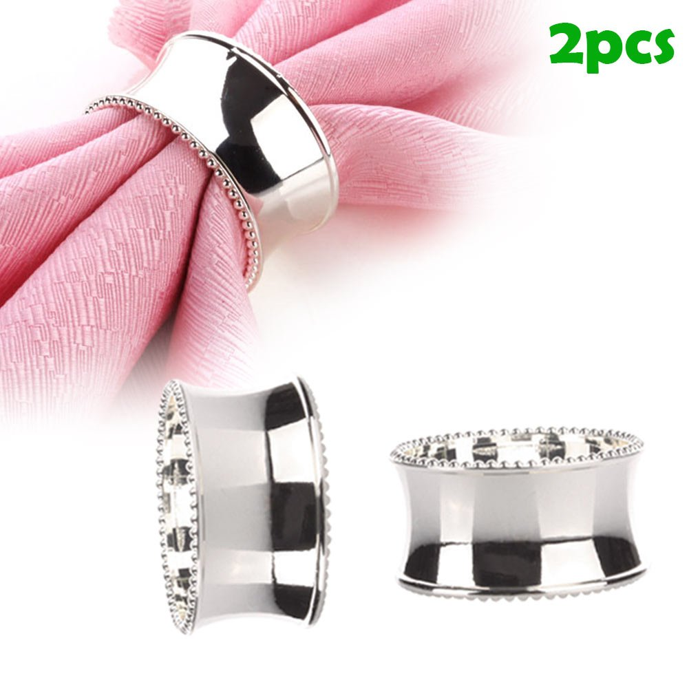 Culturemart 2pcs Stainless Steel Napkin Rings for Dinners Parties Weddings Hotel Supplies Diameter