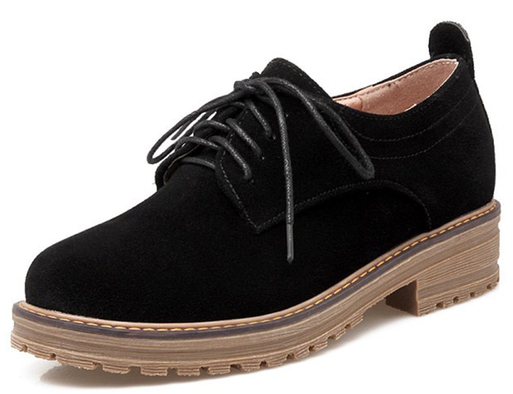IDIFU Women's Classic Low Chunky Heel Platform Low Top Lace Up Oxfords Shoes Black 4 B(M) US