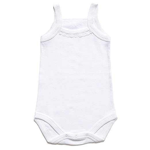 67efaaab58762b Bahar Bebe Ultra Soft Ribbed Turkish Cotton white Baby Camisole Onesies  with lace. 6 months