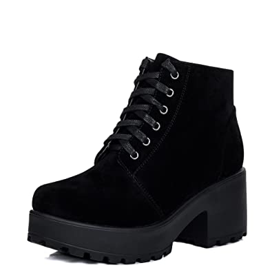 Lace Up Cleated Sole Platform Block Heel Ankle Boots Shoes Black Suede  Style Sz 3 0e85666102ba