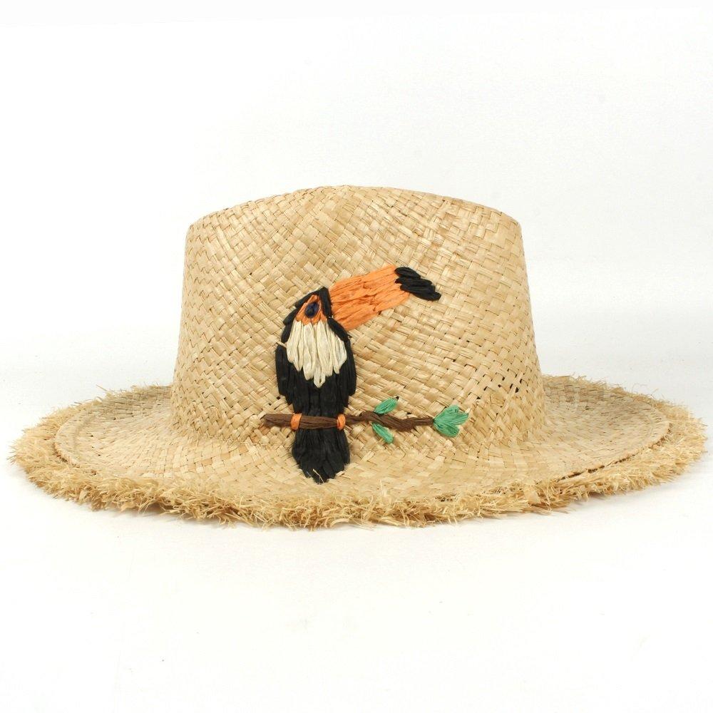 BEIXI Raffia Stubble Women Panama Hat with Handmade Summer Beach Sun Hat