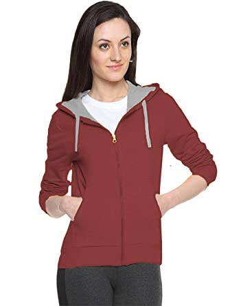 8dcca57839d6 FUEGO Fashion Wear Maroon New Sweatshirt for Women s  Amazon.in  Clothing    Accessories