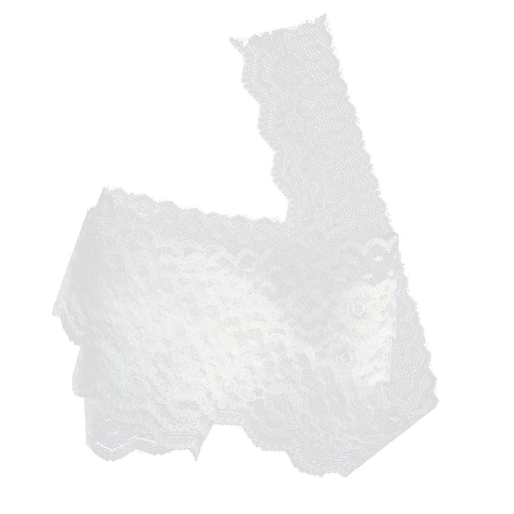 MagiDeal Puntilla de 10yd Encaje de Flor Blanca paa Ropa Bordada Embalaje de Regalo Bricolaje Costura
